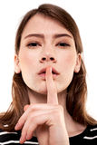 Shhhhh Woman! Finger On Lips. Silent - Silence Stock Image Stock Photo