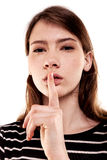Shhhhh Woman! Finger On Lips. Silent - Silence Stock Image Royalty Free Stock Photo