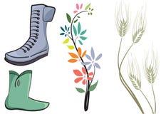 Shhoes y flor stock de ilustración