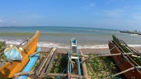 Shi Lanka ocean waves and boat. Shi Lanka ocean waves and beach stock footage