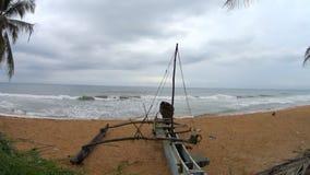 Shi Lanka ocean waves and boat. Shi Lanka ocean waves and beach stock video