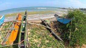 Shi Lanka ocean waves, varan and boat. Shi Lanka ocean waves and beach stock video