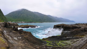 Shi Ti Ping rock formation in Taiwan Stock Photos