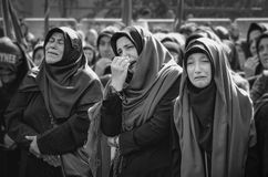 Shia Muslim women are crying mourn during Ashura ceremony Royalty Free Stock Photo