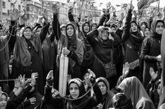 Shia Muslim women shout Islamic slogans Ashura procession Stock Image
