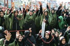 Shia Muslim women shout Islamic slogans Ashura procession Stock Photos