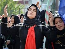 Shia Muslim women shout Islamic slogans Ashura procession Stock Photo