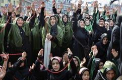 Shia Muslim women shout Islamic slogans Ashura procession. Istanbul, Turkey - October 11, 2016: Shia Muslim women shout Islamic slogans as they mourn during an Stock Photography