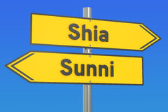 Shia vs sunni concept on the signpost, 3D rendering Royalty Free Stock Photos