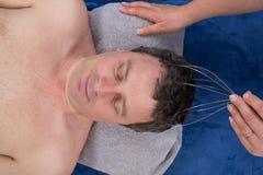 Shiatsu da massagem da cabeça de Chakras isolado Foto de Stock Royalty Free