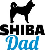 Shiba dad silhouette. With blue word Stock Photography