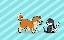 Shiba dogc och katt Arkivfoto