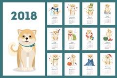 Shiba dogs calendar. Stock Photo