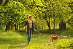 Shiba Inu dog and a girl in forest. Royalty Free Stock Photography