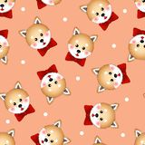Shiba Inu Dog with Red Ribbon. on White Polka dot Orange Background. Vector Illustration vector illustration