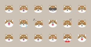 Shiba inu emoticon, flat style vector illustration.  royalty free illustration