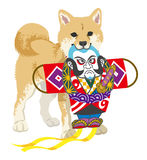 Shiba inu playing with the Japanese Kite Royalty Free Stock Image