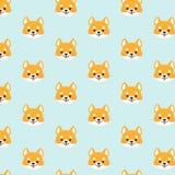 Shiba inu seamless pattern. Royalty Free Stock Photo