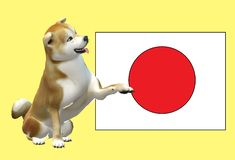 A Shiba Inu Spitz dog offering a handshake and the Japan flag royalty free stock photos