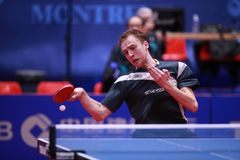 SHIBAEV Alexander from Russia top spin Stock Photo