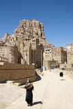 Shibam village near sanaa in yemen street scene Royalty Free Stock Images