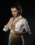 Shibari Die Frau, die mit gebunden wird, fangen Art von BDSM ein Stockfotos
