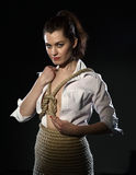 Shibari. Woman tied with rope in style of BDSM Stock Photos