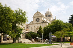 Shibenik cityscape with the St. James's cathedral Stock Photo