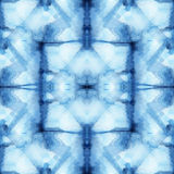 Shibori. Beautiful seamless tie-dye pattern of indigo color on white silk. Batik-hand painting fabrics - nodular batik. Shibori dyeing Stock Image