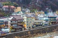 Shibu Onsen in Nagano, Japan. The small town of Shibu Onsen in Nagano Prefecture. The town is famed for the numerous historic bath houses located there Stock Photo