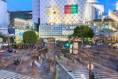 Скрещивание Shibuya на токио японии ночи Стоковая Фотография