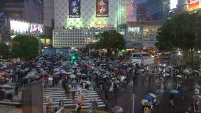 Shibuya-?berfahrt ist einer der besch?ftigtsten Zebrastreifen in der Welt stock footage