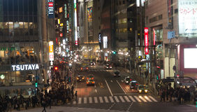 Shibuya city at night with crowd people cross the street at nigh Stock Photo