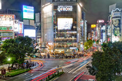 Shibuya Crossing at Night. A nght picture of the largest pedetrian intersection in the world (Shibuya crossing) in Tokyo Japan Royalty Free Stock Photos