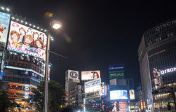 Shibuya crossing in the night,Tokio Royalty Free Stock Photos