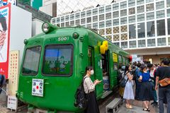 Shibuya, Tokyo, Japan - April 30, 2020: Crowds hurry at Tokyo Shibuya station in Japan. stock image