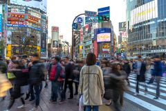 Standing on Shibuya Crossing, Tokyo, Japan. stock photo
