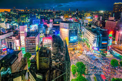 Shibuya Crossing from top view in Tokyo. Shibuya Crossing from top view at twilight in Tokyo, Japan royalty free stock image