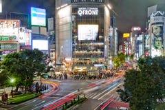 Shibuya die bij Nacht kruist Royalty-vrije Stock Foto's