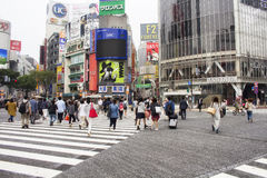 Shibuya die in Tokyo Japan kruisen royalty-vrije stock foto's