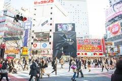 SHIBUYA, JAPAN - FEBRUARI 19, 2016: Shibuya groot zebrapad in Ja Stock Foto