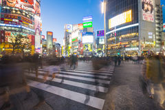 SHIBUYA, JAPAN - FEBRUARY 19, 2016 : Shibuya big crosswalk in Ja. Pan, Beautiful cityscape at night royalty free stock images