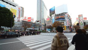 Shibuya pedestrian crossing and car traffic by day, Tokyo, Japan