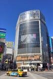 Shibuya pedestrian scramble. TOKYO JAPAN 15 FEB 2017: A building Shibuya pedestrian scramble: One of the world`s most heavily used pedestrian scrambles at Royalty Free Stock Photos