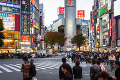 Shibuya scramble crossing in Tokyo at dusk, Japan Stock Photo