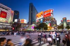 Shibuya scramble crossing in Tokyo at night, Japan Royalty Free Stock Photography