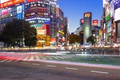Shibuya scramble crossing in Tokyo at night, Japan Stock Image