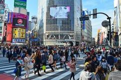 Shibuya som korsar Tokyo fotografering för bildbyråer