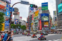 Shibuya, Tokyo, Giappone - 30 aprile 2019: Kart di Mario sul distretto di Shibuya a Tokyo, Giappone immagini stock