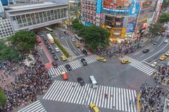 Shibuya, Tokyo, Japan - April 30, 2029: Pedestrians crosswalk at Shibuya district in Tokyo, Japan. Shibuya Crossing is one of the busiest crosswalks in the stock photography